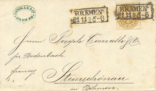 Prussian foreign post - letter from Bremen (1867-11-21) to Kamenicky Senov (1867-11-23)